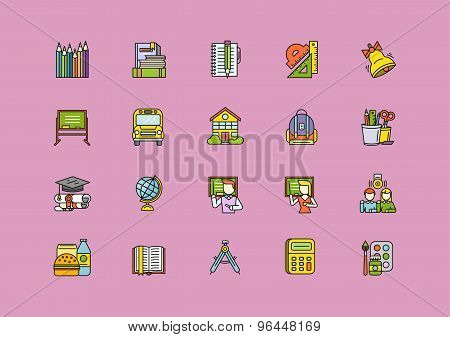 Colorful School Thin Lines Outline Stroke Icons