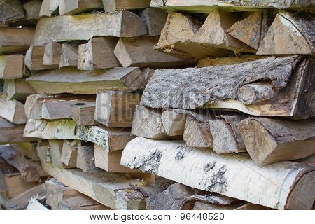 Pile Of Firewood Close Up