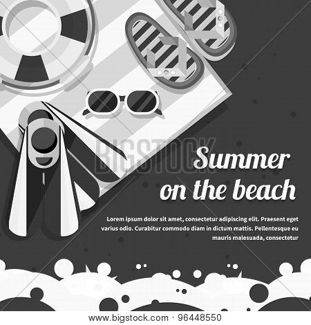 Travel Concept on the Beach Black background