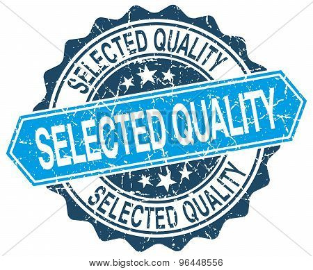 Selected Quality Blue Round Grunge Stamp On White