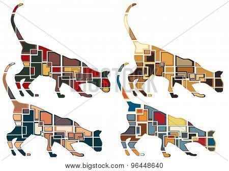 Set of colorful eps8 editable vector mosaic illustrations of an inquisitive cat