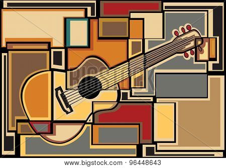 EPS8 editable vector colorful mosaic illustration of an acoustic guitar