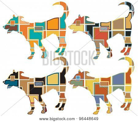 Set of colorful eps8 editable vector mosaic illustrations of a young dog