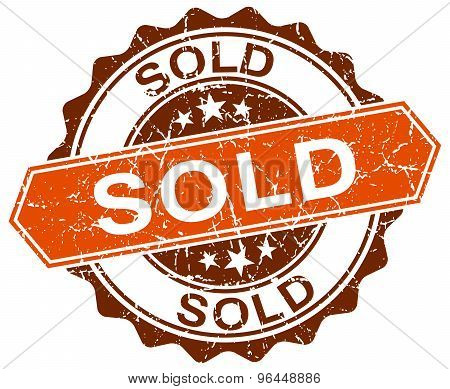 Sold Orange Round Grunge Stamp On White