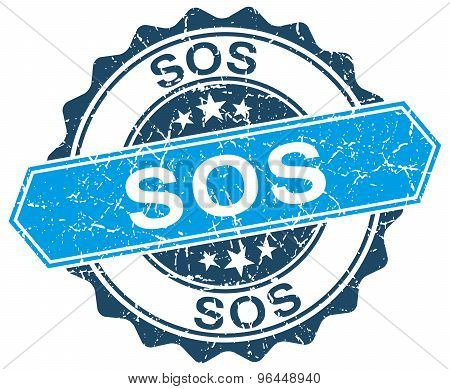 Sos Blue Round Grunge Stamp On White