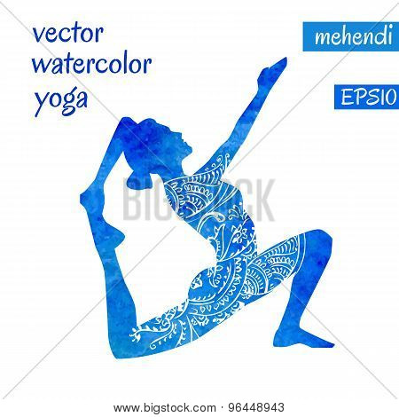 Blue Female Silhouette In Yoga Pose