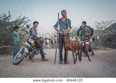 GODWAR REGION, INDIA - 13 FEBRUARY 2015: Local shepherds stand on gravel road with goat herd and motorbikes. Post-processed with grain, texture and colour effect.