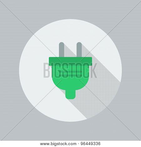 Eco Flat Icon. Electric Plug