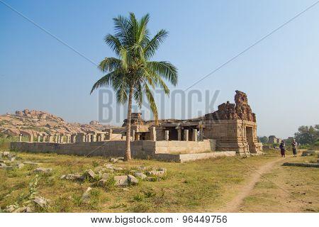 HAMPI, INDIA - 30 JANUARY 2015: Ruins of Hampi are a UNESCO World Heritage Site.