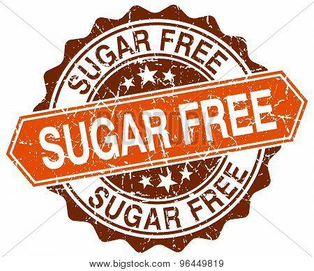 Sugar Free Orange Round Grunge Stamp On White