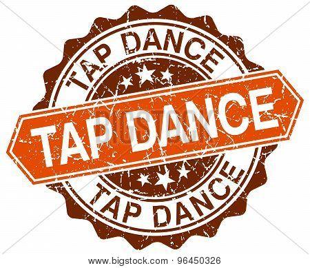 Tap Dance Orange Round Grunge Stamp On White