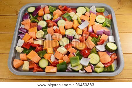 Chopped Raw Vegetables Seasoned And Drizzled With Oil