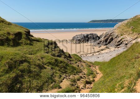 Pobbles beach The Gower Peninsula Wales uk popular tourist destination and next to Three Cliffs Bay
