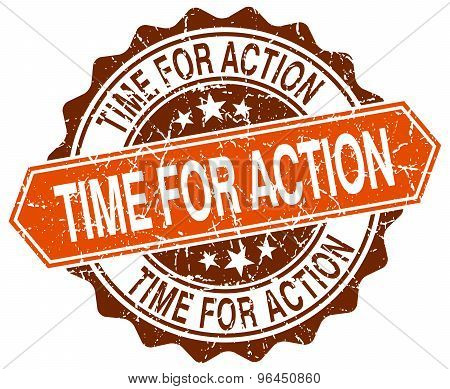 Time For Action Orange Round Grunge Stamp On White