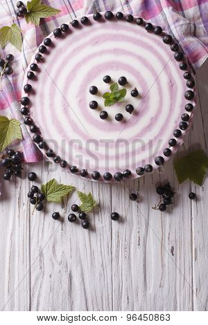 Delicious Cheesecake With Black Currant, Vertical Top View