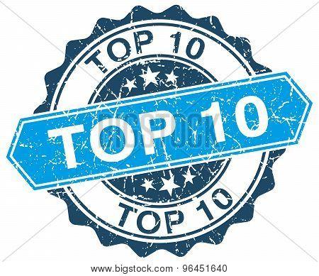 Top 10 Blue Round Grunge Stamp On White
