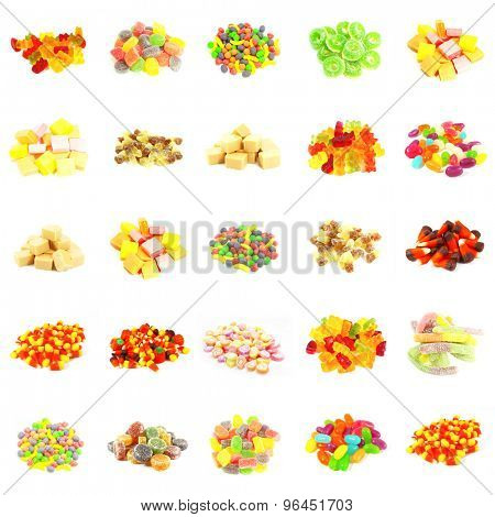 Seamless Sweets and Candy Pattern Background on White