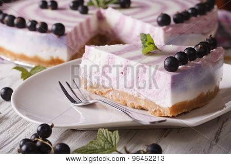 Piece Of Cheesecake With Currant Close-up. Horizontal