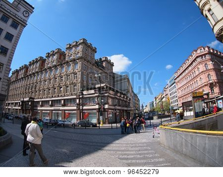 Prague, Czech Republic - April 19, 2015: People Near The Metro Station Pavlova