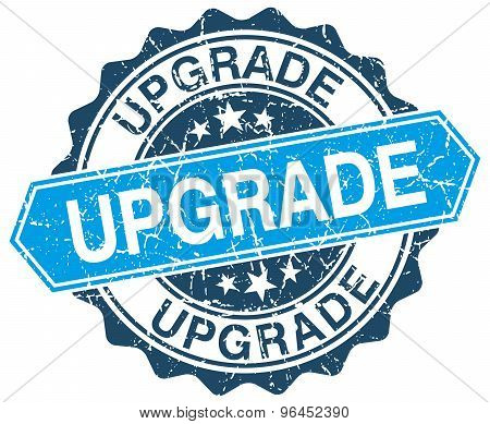 Upgrade Blue Round Grunge Stamp On White