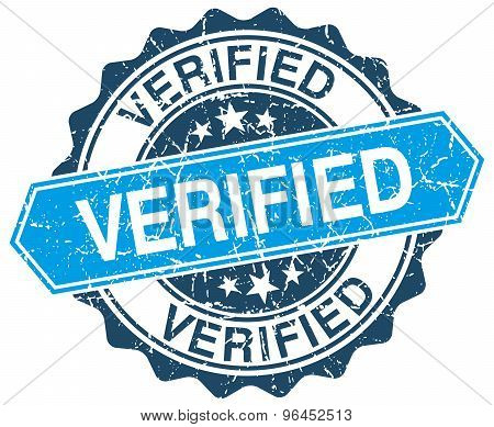 verified blue round grunge stamp on white