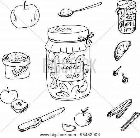 Doodle set for apple jam
