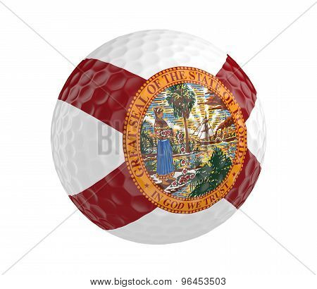 Golf ball 3D render with flag of Florida, isolated on white