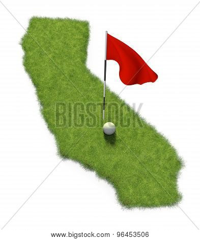 Golf ball and flag pole on course putting green shaped like the state of California