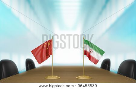 China and Iran relations and trade deal talks 3D rendering