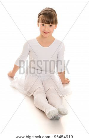 Girl sitting on the floor legs