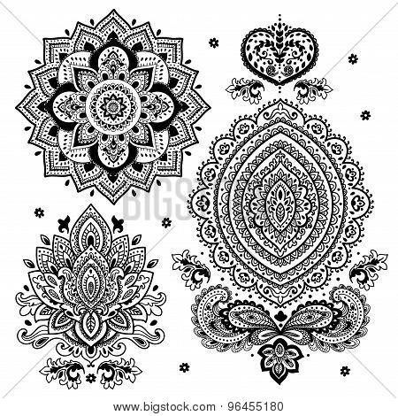 Set of Indian floral ornaments. Mandala. Henna