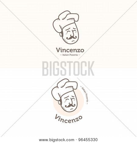 Vector Italian cook head mascot logotype. Pizzeria logo set.