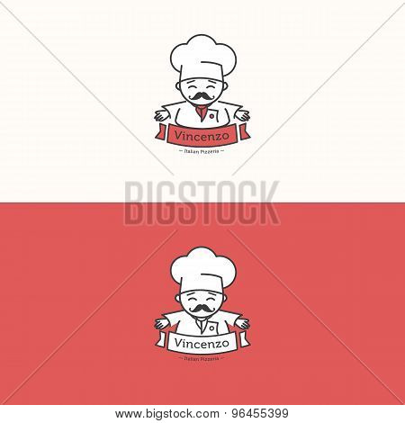 Vector Italian chef head mascot logotype. Pizzeria logo set.