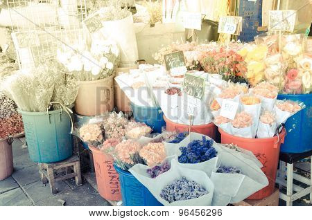 Flower Market With Sun Light