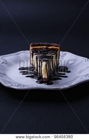 Piece of cake with chocolate cream