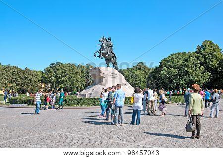 Saint-Petersburg. Russia. People near the Bronze Horseman