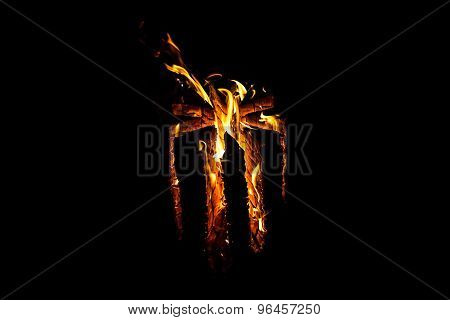 Photo of hot red log by night
