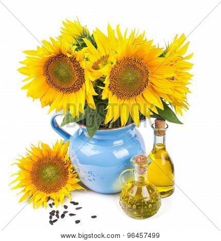 composition with sunflowers and sunflower oil