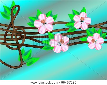 Treble clef on a blooming tree