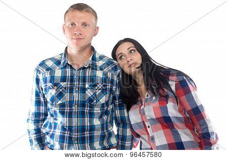 Photo young woman bending head on man