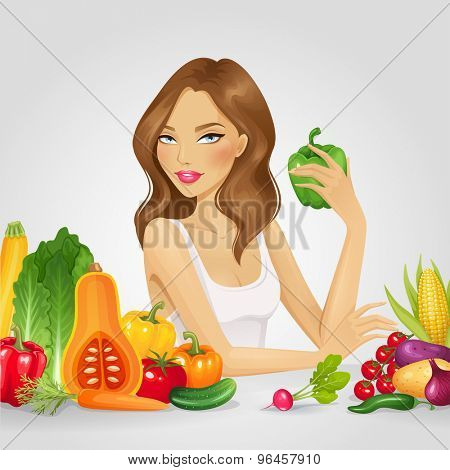 Girl with fresh vegetables. Healthy food vector illustration.