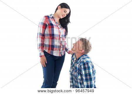 Photo of man looking at pregnant woman
