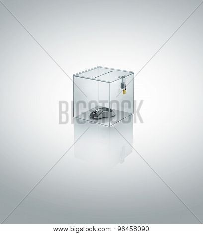 mouse in acrylic cube