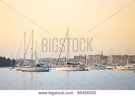 Sailboats Anchored At Adriatic Coast