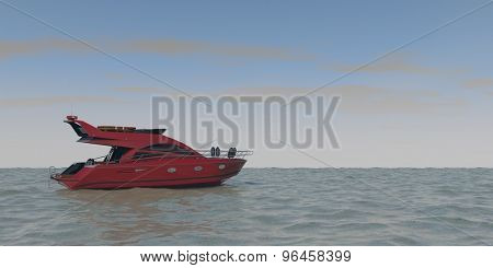 luxury red motor yacht