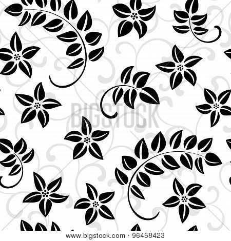 Seamless Vector Pattern: Flowers And Foliage