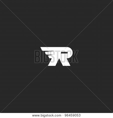 Letter R Logo With Wing, Overlapping Effect, Mockup Black And White Business Card