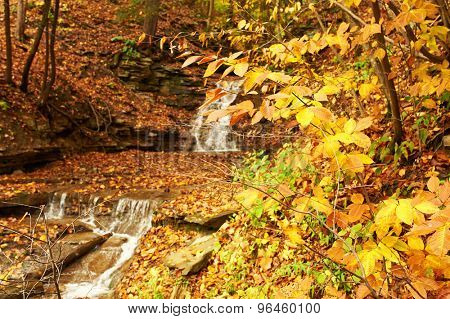 Autumn scene landscape of waterfall at Letchworth State Park