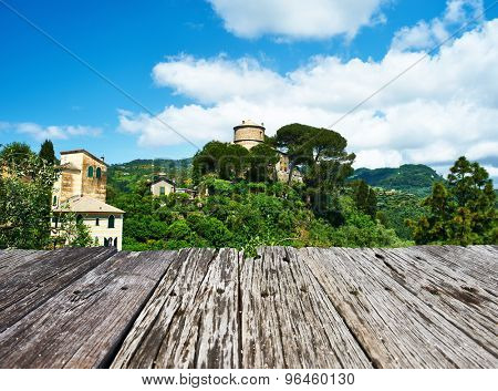 Castello Brown near Portofino village on Ligurian coast in Italy
