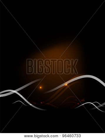 Orange dynamic wave in dark space.  illustration. Abstract background